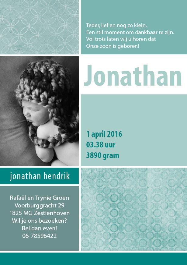Geboortekaartje Jonathan