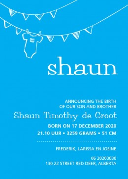 Exclusief geboortekaartje Shaun